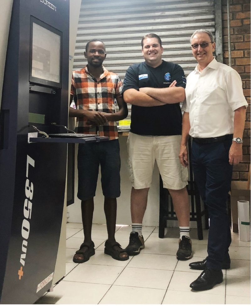 Rotocon's CEO, Michael Aengenvoort (right), and LabelLink's Mike Hadji and Ryno Roodman, who are delighted with the unrivalled levels of functionality and productivity that the Screen Truepress Jet L350UV+ has brought to the company's label production.