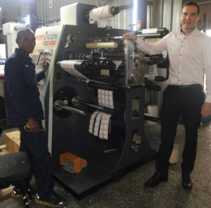 Rotocon director, Patrick Aengenvoort, and KS Scales & Labels operator, Adam Maxola, with the Ecoline RSD 330 label die-cutting/inspection machine.