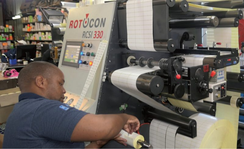 Steven Namakho describes Rotocon's Ecoline RSI 330 finishing machine as easy to operate thanks to the self-explanatory icons on the moveable operator console, and the S-drive servo/software control system on the unwind, rewind and draw stations.