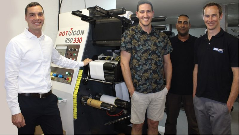 Rotocon's Pascal Aengenvoort and Akhmuth Sayed, with Blue Print Labelling's Devlin and Wade Brodowicz, are pleased to show off the recentlycommissioned Rotocon RSD 330.