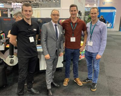 François de Beer (RotoControl) and Michael Aengenvoort (Rotocon) with Devlin and Wade Brodowicz of of Pinetown-based Blue Print Labelling. The brothers recently invested in a Rotocon Ecoline RSD 330 die-cutting/inspection machine to enhance production capacity. The machine has a similar interface to the company's Ecoline RSI 330 slitting, inspection and rewinder system.