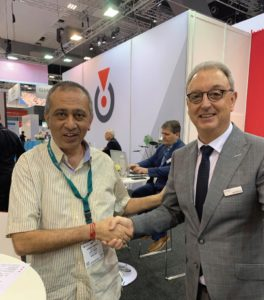 Rotocon's Michael Aengenvoort with the happy new owner of an Ecoline RDS 340 die-cutting/inspection system Elite Labels' Rakesh Kalyan. It is the sixth model sold into the local label converting market.