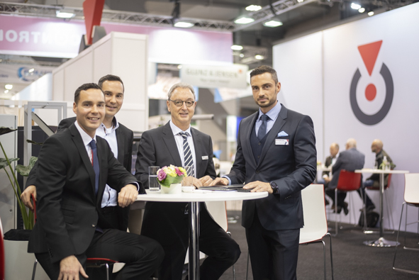 The RotoControl stand at Labelexpo Europe 2019 provided an ideal backdrop for a family reunion: Pascal, Patrick, Michael and Marco Aengenvoort.