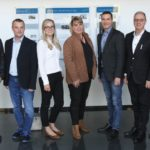 Label Leaders' directors, Theo Raubenheimer (left) and Rene Koen (centre), accompanied Rotocon's Patrick, Michael and Pascal Aengenvoort to Wink's die-making facility in Neuenhaus, Germany. They are pictured here with Wink's Area sales manager, Ludger Bastubbe, and senior customer relations manager, Wiebke Momann.