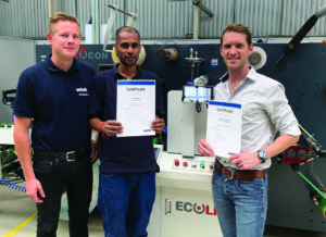 Wink's SmartGap product manager, Christian Keune recently awarded VR Print's Rall Pillay and Thierry Lagesse with certificates on completion of their SmartGap Touch adjustable anvil system training.