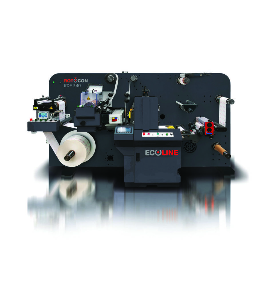With the Ecoline RDF-330, you can expand label embellishments more efficiently offline such as flexo printing, embossing, flat screen printing and hot foiling