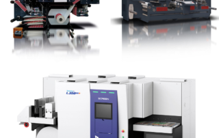 Screen Truepress Jet L350UV, a ROTOCONTROL Ecoline RDF-350 digital label converting and finishing system, and a ROTOCONTROL Ecoline RSH-440 for booklet inspection.