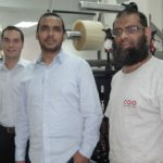 The upgraded MPS press with a UV Ray system. LtoR: Patrick Aengenvoort, Aslam Monia and Ismael (MPS Operator)