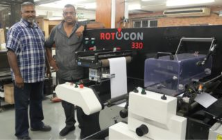 Factory manager, Collin Naidoo, and co-owner, Ravi Pillay, are pleased with the RDF 330 servo-driven digital label converting and finishing system, with its full-rotary flexo print unit, unwind/rewind unit, waste rewind, web guide unit, slitting unit, cold foil and lamination/delamination module, and die-cutting station. They praise the quality results when cold foiling and laminating.