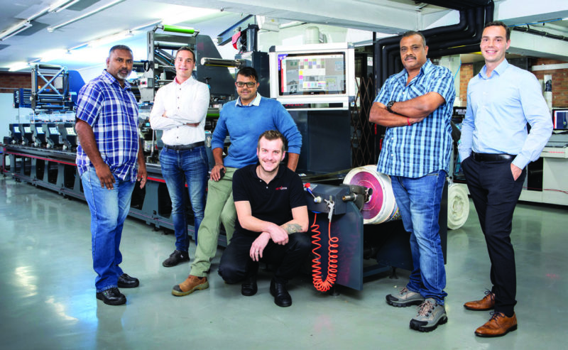 GTV Label Master's factory manager, Collin Naidoo (left) and co-owners, Vernon and Ravi Pillay (middle and second from right) with Rotocon's directors, Patrick and Pascal Aengenvoort, and technician, Francois de Beer.