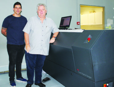 Stallion Repro's MD, Jeff Cutler (right), and platemaker, Storm Meyers, with the Esko CDI Spark 4835. It images all digital photopolymer plates, ranging from 0.76 to 6.35mm in thickness and up to 1 200 x 900mm in size.